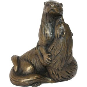 Oriele Cold Cast Bronze Figurine - Pair of Otters