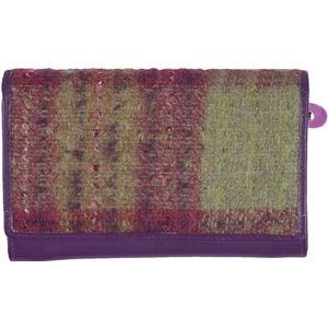 Mala Leather Abertweed Basic Flap Over Purse - Purple Tweed