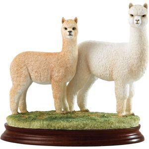Border Fine Arts Classic Figurine - Hembra & Cria Alpaca White