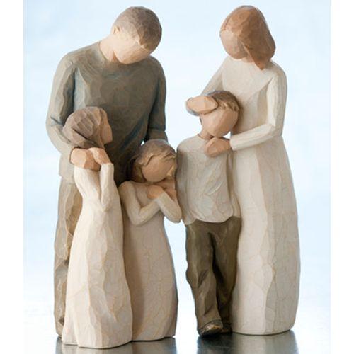 Willow Tree Parents with Three Children Figurine Gift Set 26102 26232