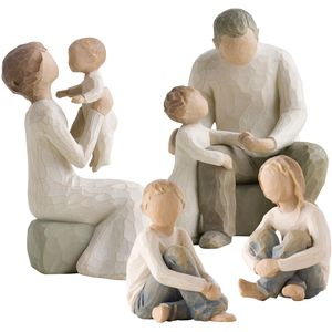 Willow Tree Figurines Set Grandparents with Four Grandchildren Option 2