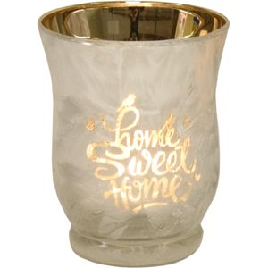 Tea Light Candle Holder - Home Sweet Home (Silver)