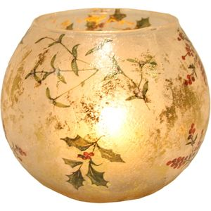 Aromatize Frosted Effect Globe Tealight Holder: Holly