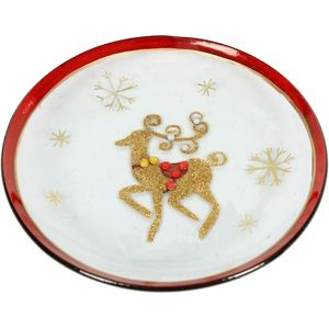 Festive Candle Plate - Gold & Red Reindeer