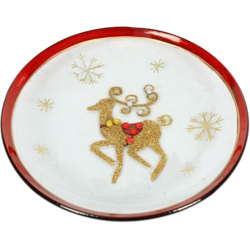 Candle Plate: Gold & Red Deer VC380L