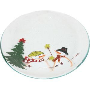 Festive Candle Plate - Christmas Snowmen