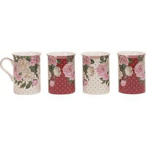 Heath McCabe Red Rose Garden Set of 4 Fine China Mugs