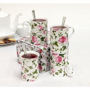 Heath McCabe Cottage Garden Ivy Rose set of 4 Mugs
