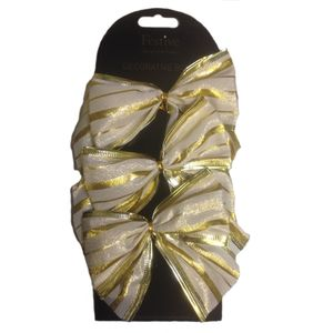 Set of 6 Gold Bows with Gold & Ivory Striped Design