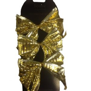 Decorative Gold Bows with Stripes Set of 6