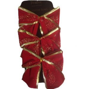 Set of 6 Red Bows with Gold Glitter Tree Design