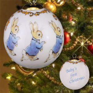Reutter Porcelain Beatrix Potter Peter Rabbit Bauble - Babys 1st Christmas