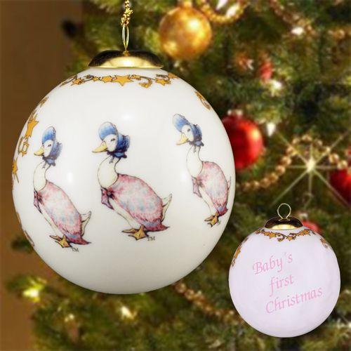 Reutter Porcelain Jemima Puddleduck design Baby 1st Xmas Tree Bauble