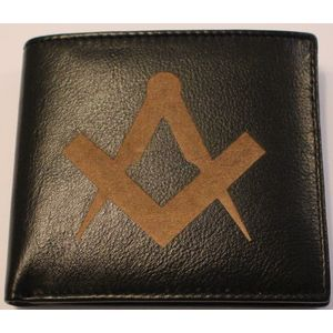 Masonic Compass & Square Design Gents Leather Wallet