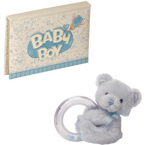 Baby Boy Photo Album & Bear Rattle Gift Set