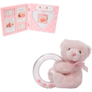 Teddy Baby Rattle & Multi Photo Frame Gift Set