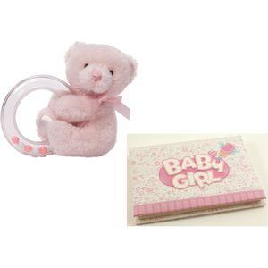 Baby Teddy Rattle and Baby Girl Photo Album
