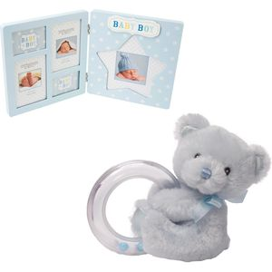 Baby Bear Rattle & Baby Boy Multi Photo Frame