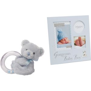 Teddy Bear Rattle & Collage Photo Frame Gift set