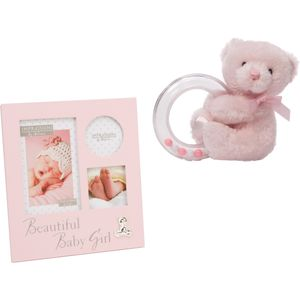 Teddy Bear Rattle & Baby Girl Collage Photo Frame Gift