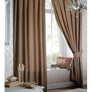 """Catherine Lansfield Faux Silk Lined Eyelet Curtains 66"""" x 54"""" - Latte"""