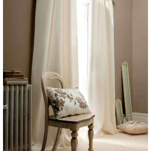 """Catherine Lansfield Cream Faux Silk Lined Eyelet Curtains 46"""" x 54"""""""