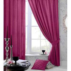 """Catherine Lansfield Faux Silk Lined Eyelet Curtains 66"""" x 90"""" - Pink"""