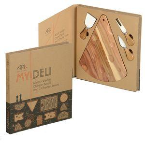 APK My Deli Acacia Wedge Cheese Board & 3 Cheese Knives