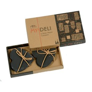 My Deli Set of 4 Slate Heart Coasters
