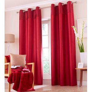 """Catherine Lansfield Opulent Velvet Red Eyelet Curtains 66"""" x 54"""""""