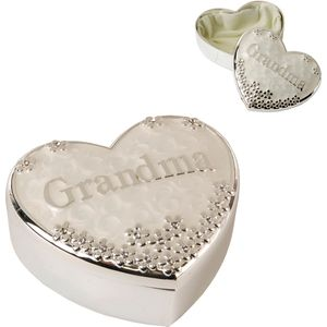 Silver Plated Heart Shaped Trinket Box - Grandma