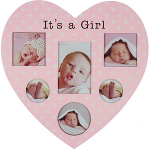 Juliana Impressions New Baby Heart Shaped Collage Photo Frame - Its a Girl