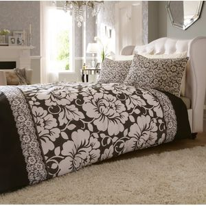 Catherine Lansfield Victorianna Black Double Bed Quilt Cover Set