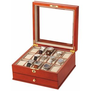 Mele & Co Gents Wooden Watch Box (Holds 15 Watches) - Red Wood