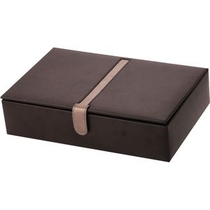 Mele & Co Gents Bonded Leather Watch Box (Holds 10 Watches) - Brown