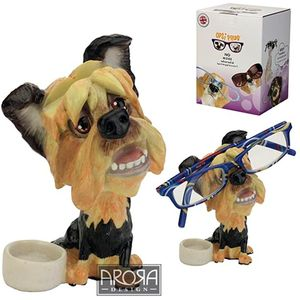 Optipaws Yorkie with Bowl Dog Glasses Holder Ornament