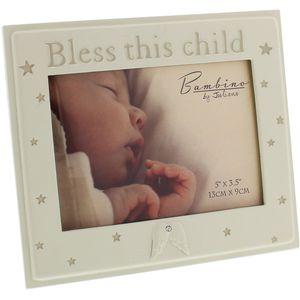 "Bambino Resin Photo Frame 5"" x 3.5"" Bless this Child"