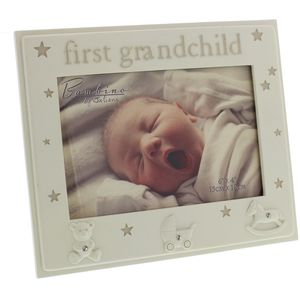 "Bambino Resin Photo Frame 6"" x 4"" First Grandchild"