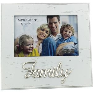 """White Antique Photo Frame Metal Wording 6x4"""" - Family"""