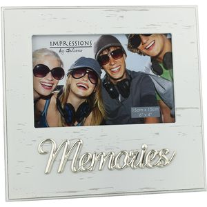 "Juliana Impressions White Antique Photo Frame Metal Wording 6"" x 4""- Memories"