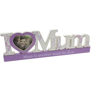 "Celebrations Sentiment Word Block Photo Frame 3.5"" x 3.5"" - I Love Mum"