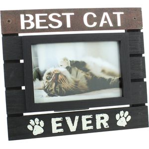 "New View Wooden Panel Photo Frame 6"" x 4"" Best Cat Ever"