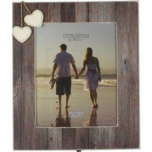 """Distressed Wood Effect Photo Frame with Hearts 8"""" x 10"""""""