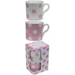 Countess Duo Pink & White Spot Set of 2 Mugs