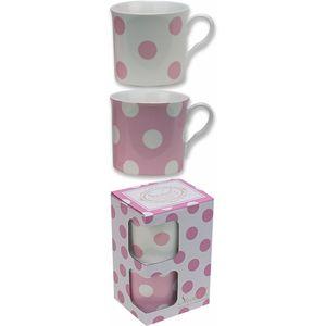Heath McCabe Countess Duo Set of 2 Fine China Mugs - Pink & White Spot