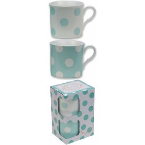 Heath McCabe Countess Duo Set of 2 Fine China Mugs - Green & White Spot