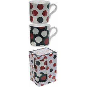 Countess Duo Red White & Black Spot Mugs set of 2