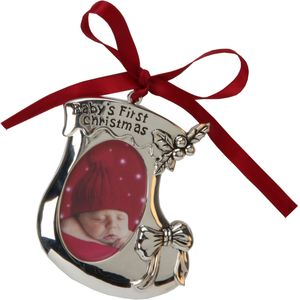 Babys First Christmas Bootie Ornament Photo Frame