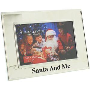 "Home Living Silver Plated Christmas Photo Frame 6"" x 4"" - Santa & Me"