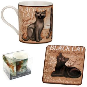 My Pedigree Pals Black Cat Mug & Coaster Set